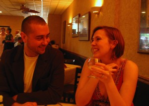 Kirk and I at our Engagement night dinner with his Parents