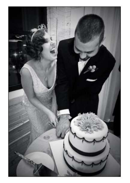 Kirk and me cutting the cake.
